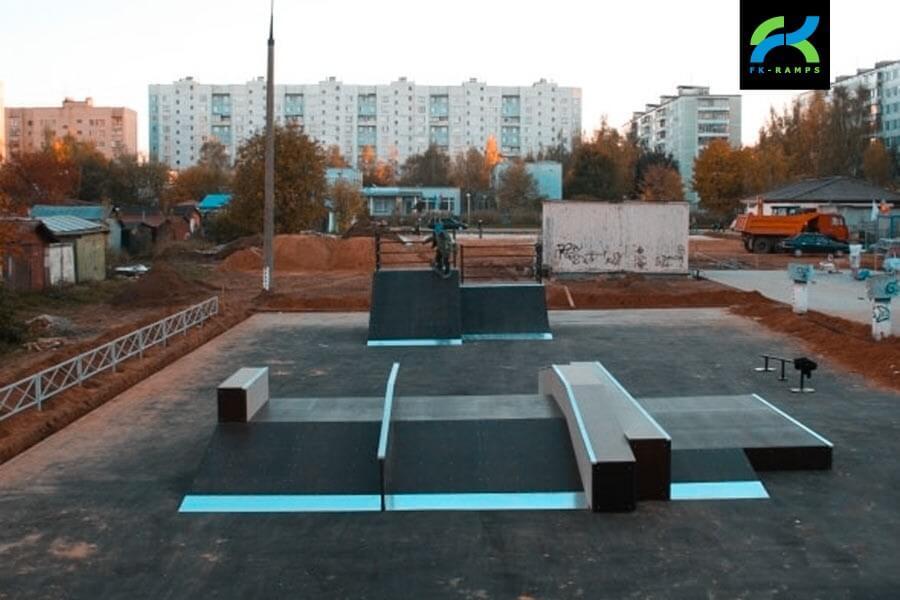 Деревянный скейт-парк в поселке Горки‑10