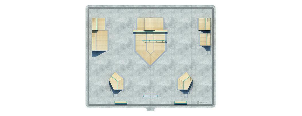 План деревянного скейт парка Д-10 вид сверху от FK-ramps