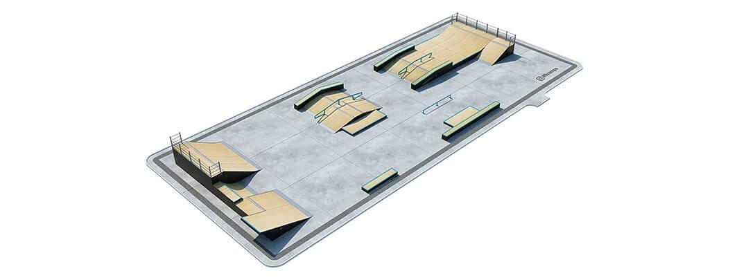 План деревянного скейт парка Д-11 вид сверху от FK-ramps