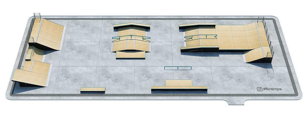План деревянного скейт парка Д-11 от FK-ramps