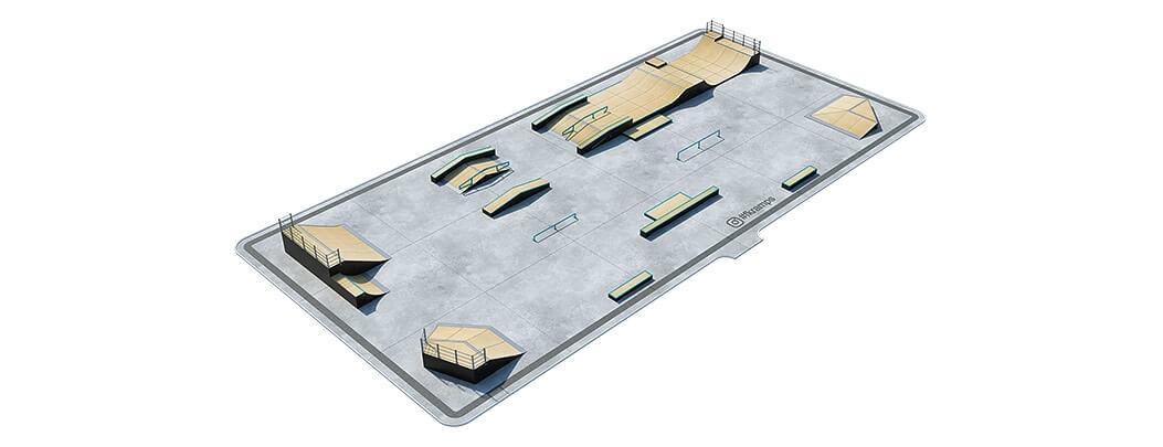 План деревянного скейт парка Д-12 вид сверху от FK-ramps