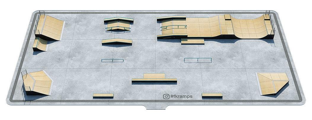 План деревянного скейт парка Д-12 от FK-ramps