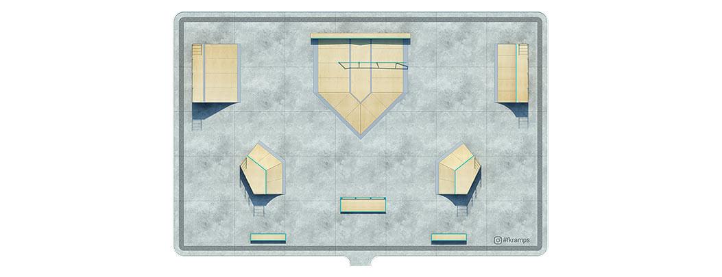 План деревянного скейт парка Д-09 вид сверху от FK-ramps