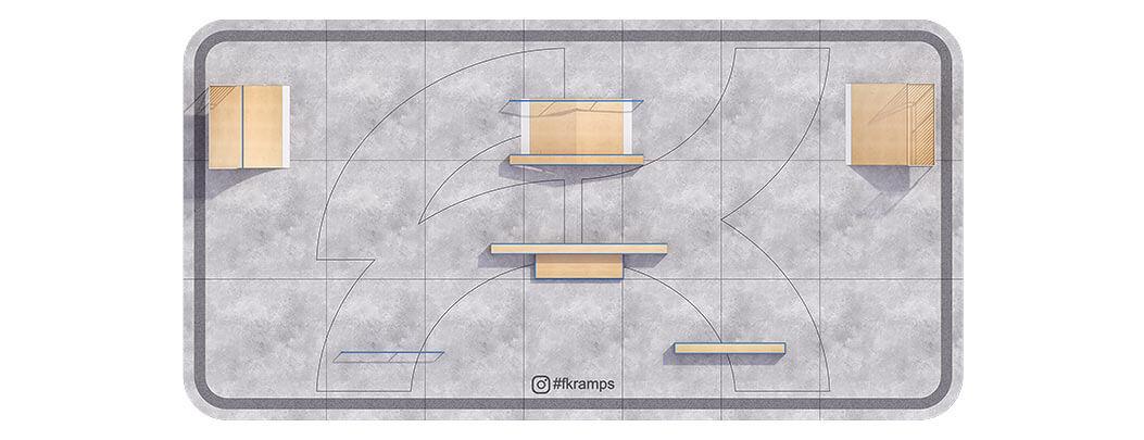 Проект металлического скейт парка М-01 вид сверху от FK-ramps