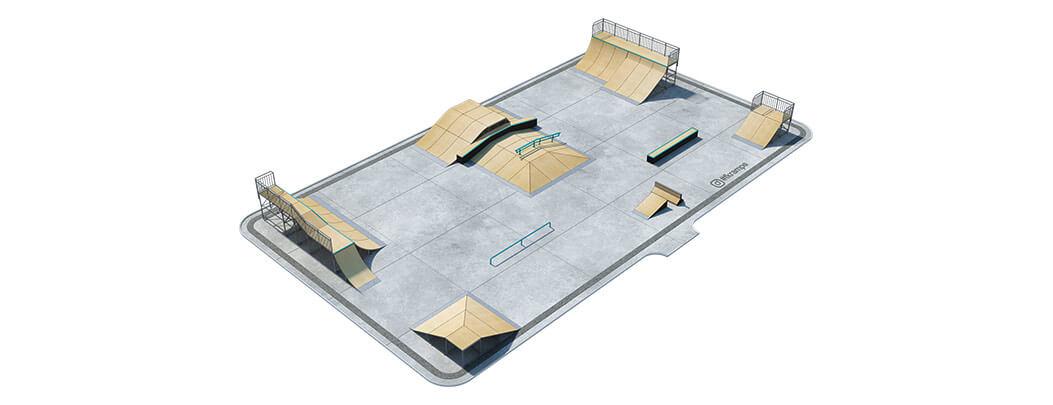 Проект металлического скейт парка М-04 вид сверху от FK-ramps