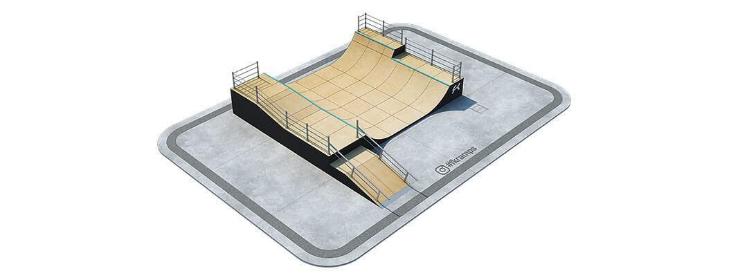 Двухуровневая рампа для скейта с гэпом и рейлами на деревянном каркасе - FK-ramps