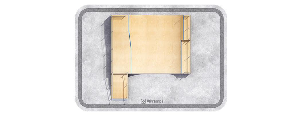Двухуровневая рампа для скейта с гэпом и рейлами на деревянном каркасе вид сверху - FK-ramps