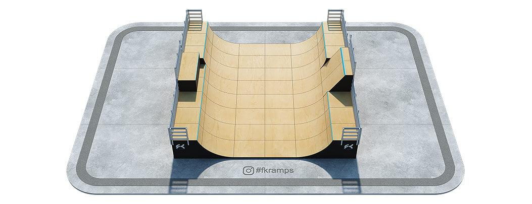 Многоуровневая мини рампа с боксом и воллрайдом на деревянном каркасе - FK-ramps