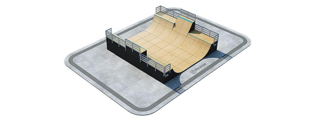 Многоуровневая рампа для скейта с боксом и воллрайдом на деревянном каркасе - FK-ramps