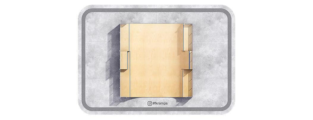 Многоуровневая рампа для скейта с боксом на деревянном каркасе - FK-ramps
