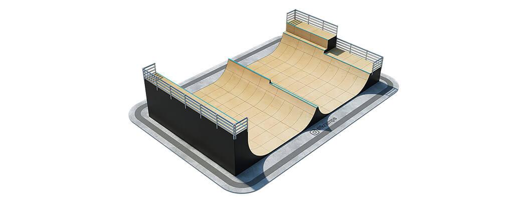 Рампа для скейта со спайном на деревянном каркасе - FK-ramps