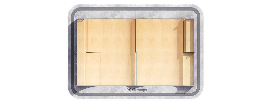 Рампа для скейта со спайном на деревянном каркасе вид сверху - FK-ramps