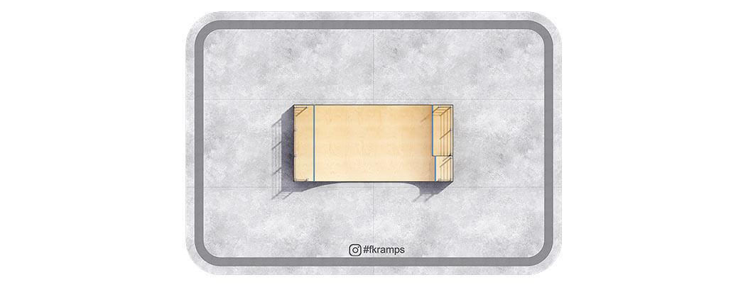 Двухуровневая рампа для скейта на деревянном каркасе РД-05 вид сверху - FK-ramps
