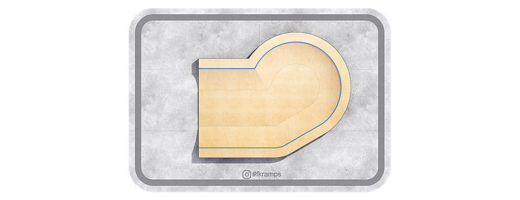 Пул-рампа для скейта на деревянном каркасе вид сверху - FK-ramps