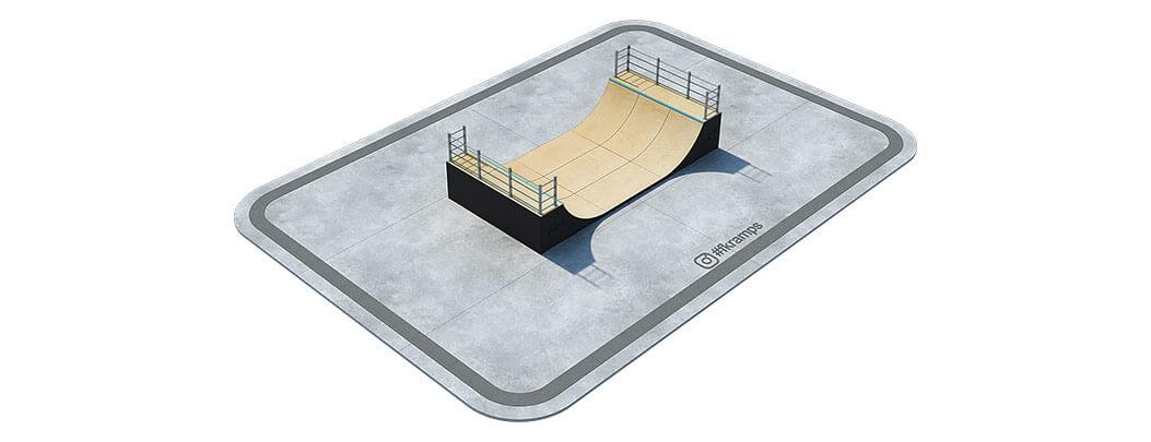 Одноуровневая рампа для скейта на деревянном каркасе - FK-ramps
