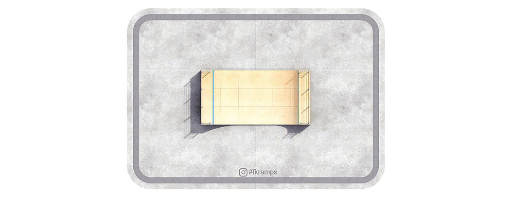 Одноуровневая рампа для скейта на деревянном каркасе вид сверху - FK-ramps