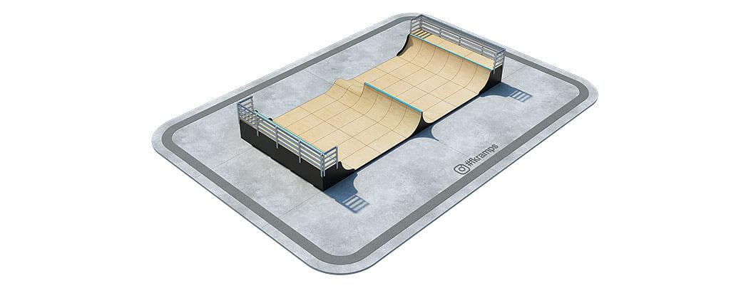 Одноуровневая рампа для скейта со спайном и хипом на деревянном каркасе - FK-ramps