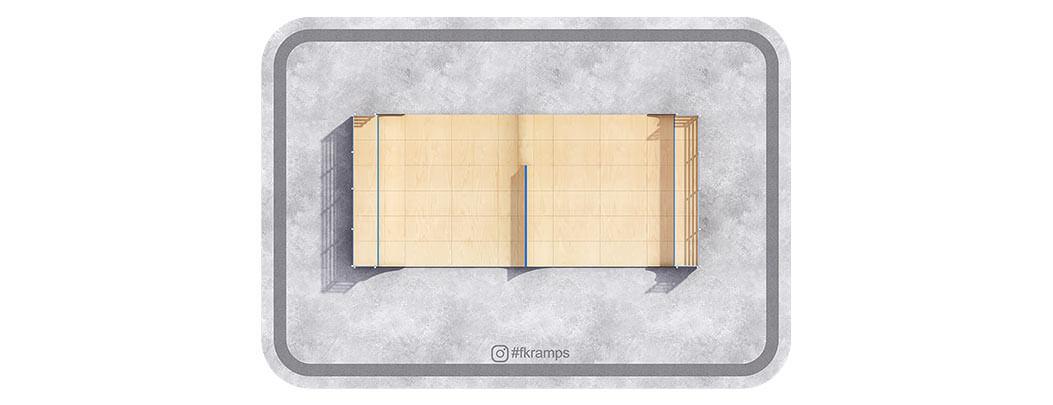 Одноуровневая рампа для скейта со спайном и хипом на деревянном каркасе от FK-ramps