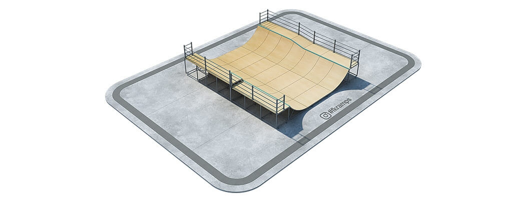 Двухуровневая рампа для скейта с переходом на металлическом каркасе - FK-ramps