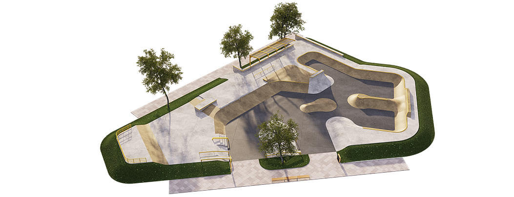 Макет скейт парка из бетона Б-03 от FK-ramps