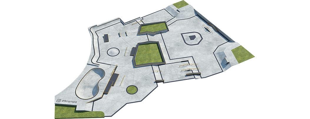 Проект бетонного скейт парка Б-06 вид сверху от FK-ramps