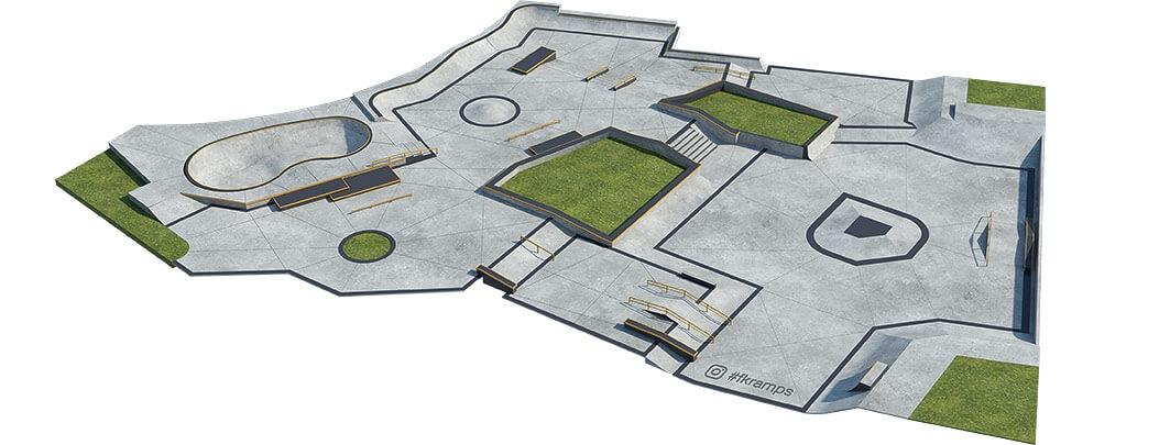 Проект бетонного скейт парка Б-06 от FK-ramps