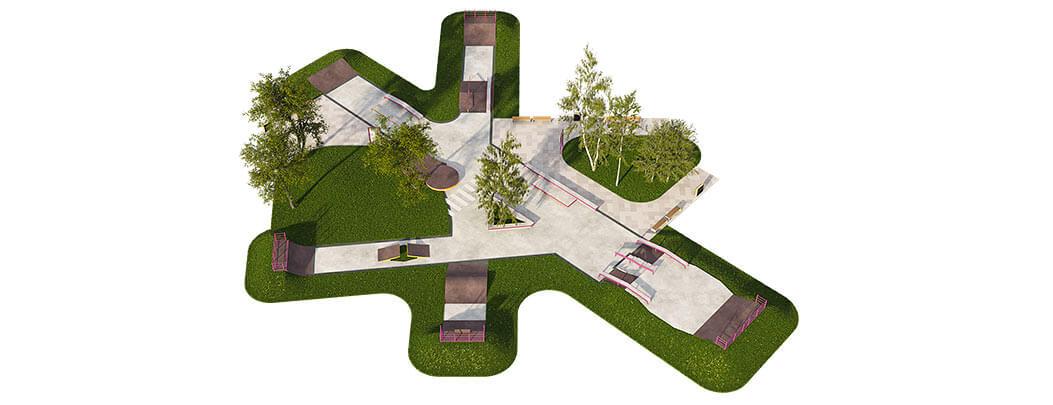 Макет скейт парка из бетона Б-08 от FK-ramps