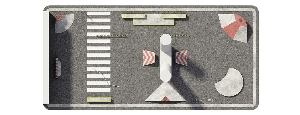 План бетонного скейт парка под мостом Б-02 от FK-ramps