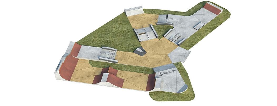 Макет скейт парка из бетона Б-07 от FK-ramps