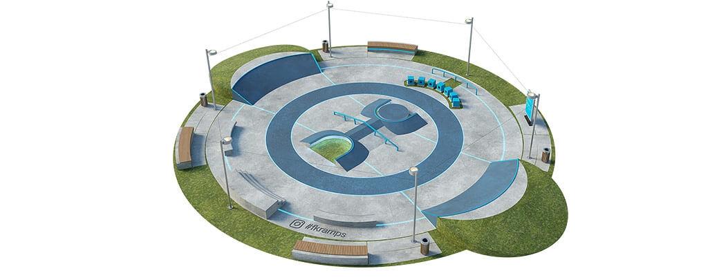 Макет скейт парка из бетона Б-05 от FK-ramps