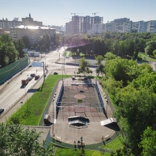 Деревянный скейт парк на улице Берзарина в Москве - FK-ramps
