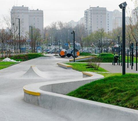 Бетонный скейт парк ЖК Мещерский Лес