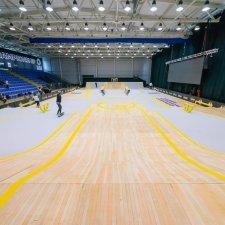 Нанесение текстуры паркета баскетбольного зала