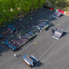 Деревянный скейт парк в Миассе: вид сверху