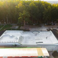 Бетонный скейт парк: вид сверху