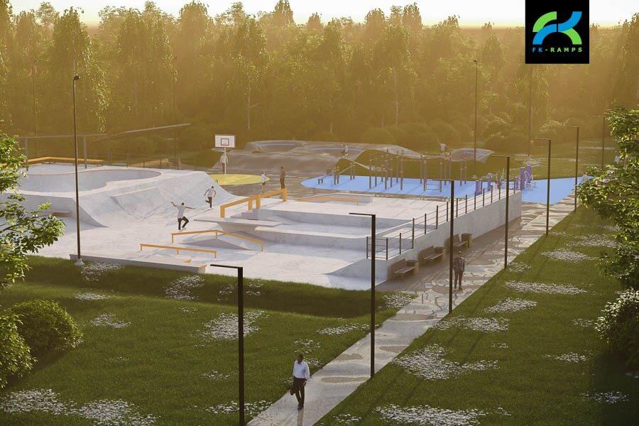 Концепция бетонного скейт парка в Буграх